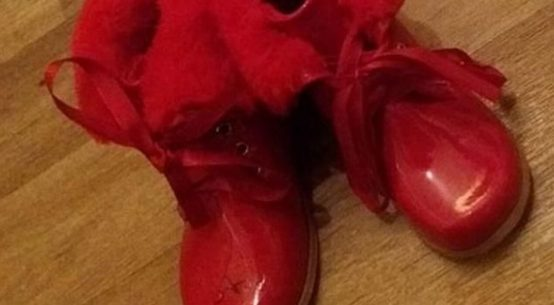 Fur-lined Expensive Red Child Shoes